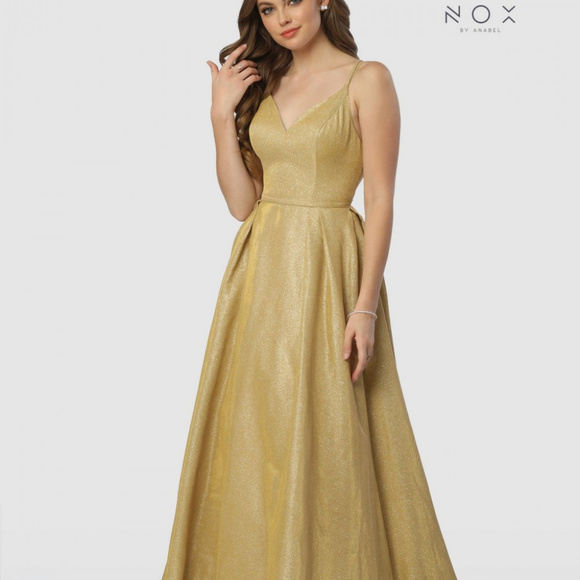 00dd70a3d A-Line Long Prom Dress V-Neckline E228. NWT. nox anabel